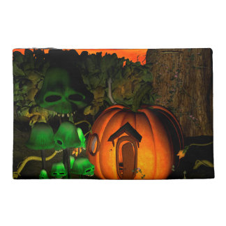 Pumpkin with skull and mushrooms travel accessory bag