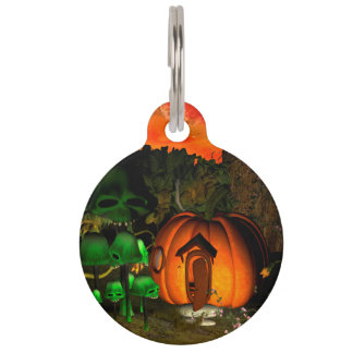 Pumpkin with skull and mushrooms pet name tags