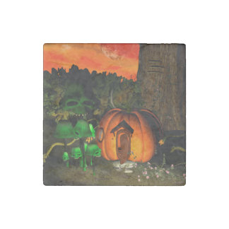 Pumpkin with skull and mushrooms stone magnet