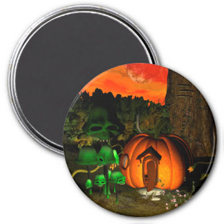 Pumpkin with skull and mushrooms magnets