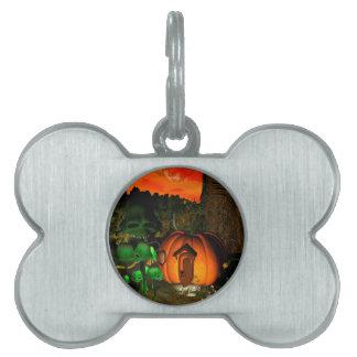 Pumpkin with skull and mushrooms pet ID tag