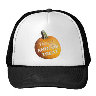 Pumpkin with Trick and or Treat on it Mesh Hats