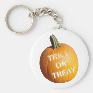 Pumpkin with Trick or Treat on it Keychain