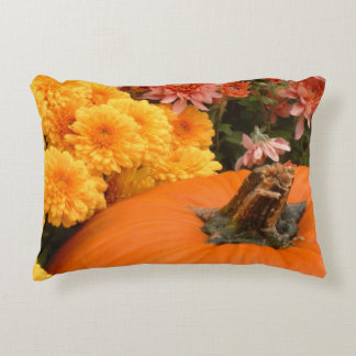 Pumpkin With Yellow And Coral Mums Accent Pillow
