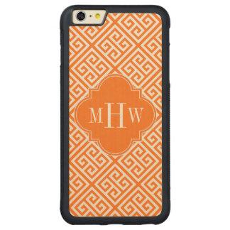 Pumpkin Wt Med Greek Key Diag T Oran Name Monogram Carved Maple iPhone 6 Plus Bumper Case