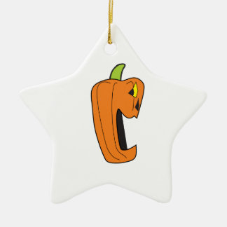PUMPKIN YELLING Double-Sided STAR CERAMIC CHRISTMAS ORNAMENT