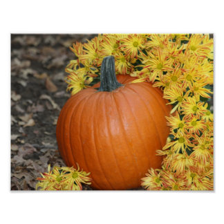 Pumpking and Fall Flowers Poster