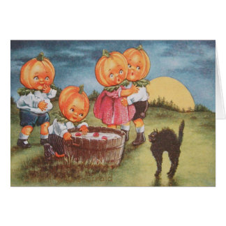 Pumpkinhead Black Cat Bobbing For Apples Card