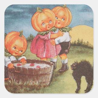 Pumpkinhead Black Cat Bobbing For Apples Square Sticker