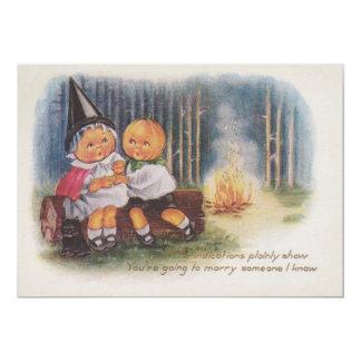 Pumpkinhead Black Cat Camping Fire Pumpkin Card