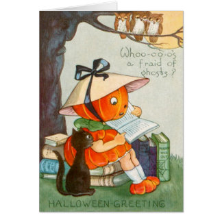 Pumpkinhead Black Cat Jack O Lantern Pumpkin Card