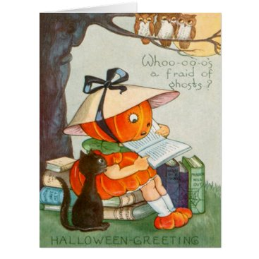 Halloween Themed Pumpkinhead Black Cat Jack O Lantern Pumpkin Owl Card