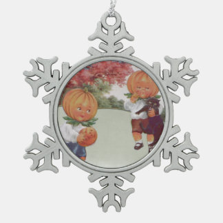 Pumpkinhead Jack O' Lantern Black Cat Snowflake Pewter Christmas Ornament