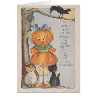 Pumpkinhead Jack O Lantern Crow Black Cat Owl Card