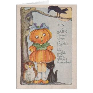Pumpkinhead Jack O Lantern Crow Black Cat Owl Card