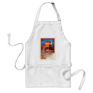 Pumpkinhead Owl Black Cat Crescent Moon Adult Apron