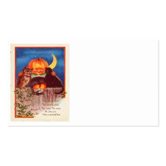 Pumpkinhead Owl Black Cat Crescent Moon Business Card