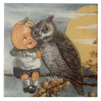 Pumpkinhead Owl Full Moon Tree Pumpkin Ceramic Tile