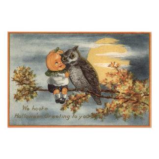 Pumpkinhead Owl Full Moon Tree Pumpkin Photo Print