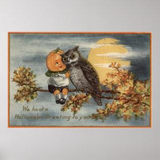 Pumpkinhead Owl Full Moon Tree Pumpkin Poster