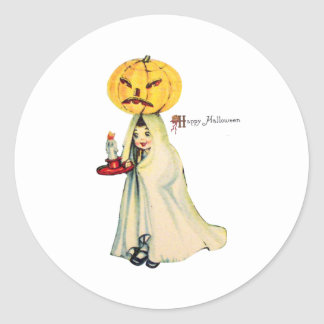 Pumpkinhead (Vintage Halloween Card) Classic Round Sticker