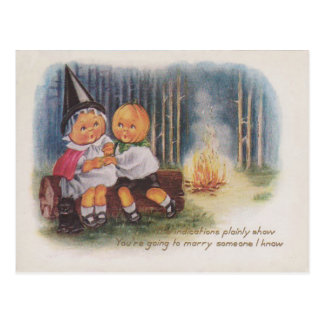 Pumpkinhead Witch Fire Forest Pumpkin Post Card