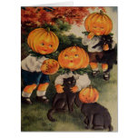 Pumpkinheads Black Cat (Vintage Halloween Card) Card