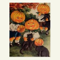 Pumpkinheads Black Cat (Vintage Halloween Card) Postcard