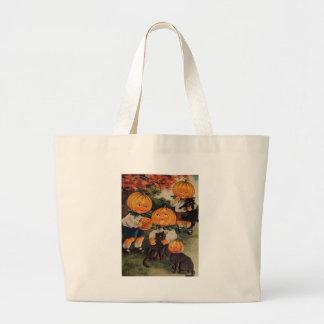 Pumpkinheads (tarjeta de Halloween del vintage) Bolsa Tela Grande
