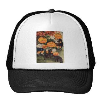 Pumpkinheads (Vintage Halloween Card) Mesh Hats