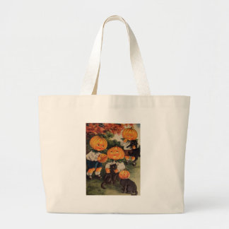 Pumpkinheads (Vintage Halloween Card) Large Tote Bag
