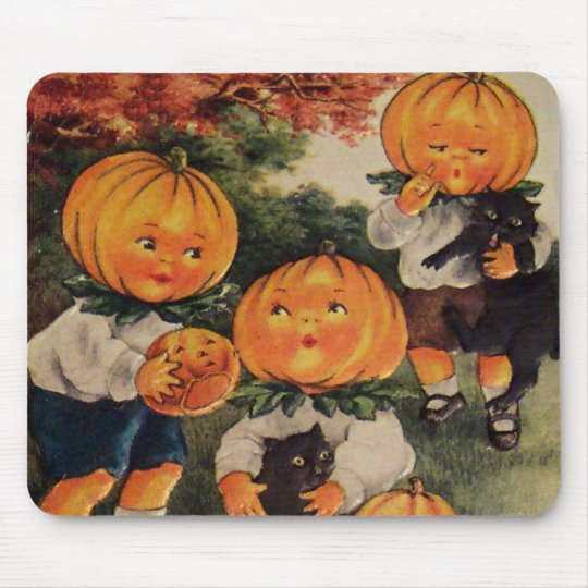 Pumpkinheads (Vintage Halloween Card) Mouse Pad