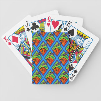 Pumpkins and Bats in Patterns of Green/Blue Bicycle Playing Cards