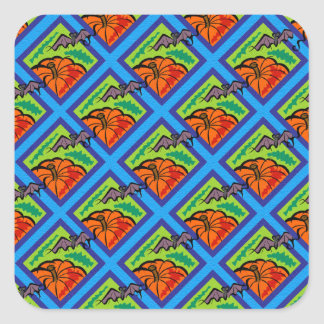 Pumpkins and Bats in Patterns of Green/Blue Square Sticker