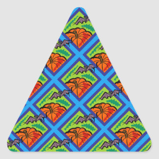 Pumpkins and Bats in Patterns Triangle Stickers