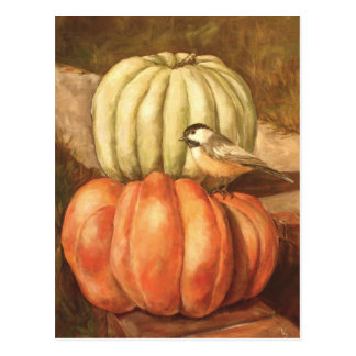 pumpkins and chickadee postcard
