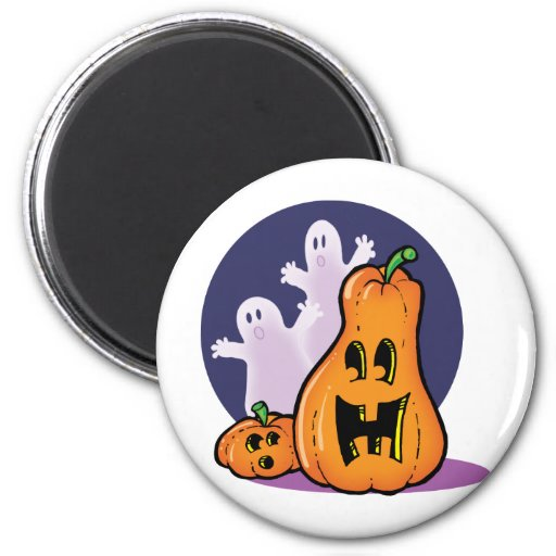 Pumpkins and Ghosts 2 Inch Round Magnet