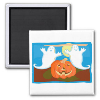 Pumpkins and Ghosts 2 Inch Square Magnet