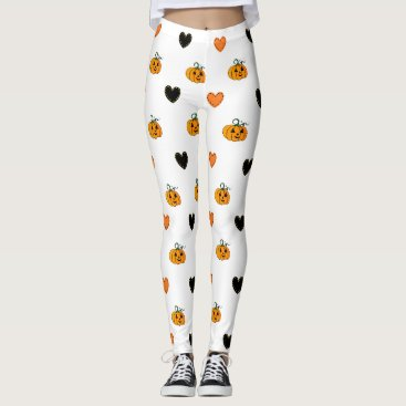 Halloween Themed Pumpkins and Heart Patches Halloween Leggings