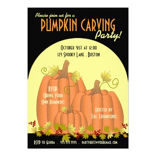 Pumpkins and Moonlight Party Invitation