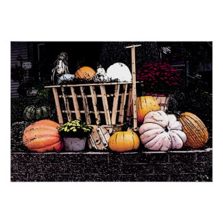 Pumpkins and Mum Autumn Picture Poster