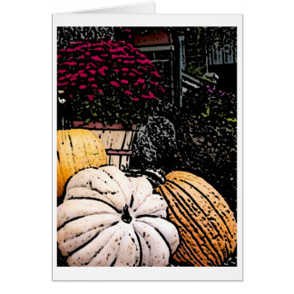 Pumpkins and Mum Thanksgiving Picture Card