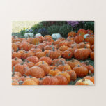 Pumpkins and Mums Autumn Harvest Photography Jigsaw Puzzle