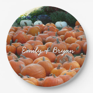 Pumpkins and Mums Autumn Harvest Photography Paper Plate
