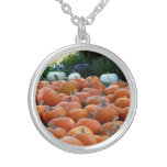 Pumpkins and Mums Autumn Harvest Photography Silver Plated Necklace