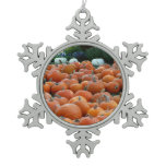 Pumpkins and Mums Autumn Harvest Photography Snowflake Pewter Christmas Ornament