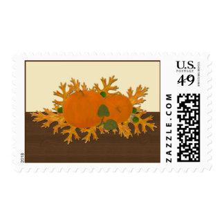 Pumpkins and Oak Leaves Postage