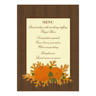 Pumpkins and Oak Leaves Thanksgiving Menu Card