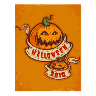 Pumpkins and old ribbon for Halloween Postcard