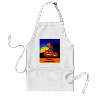 Pumpkins and owl with landscape adult apron